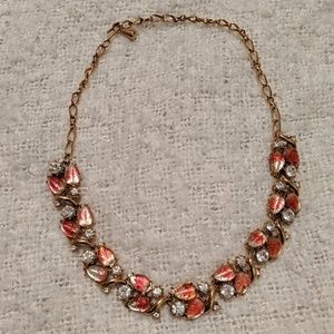 Vintage Style Pink Leaves Statement Necklace